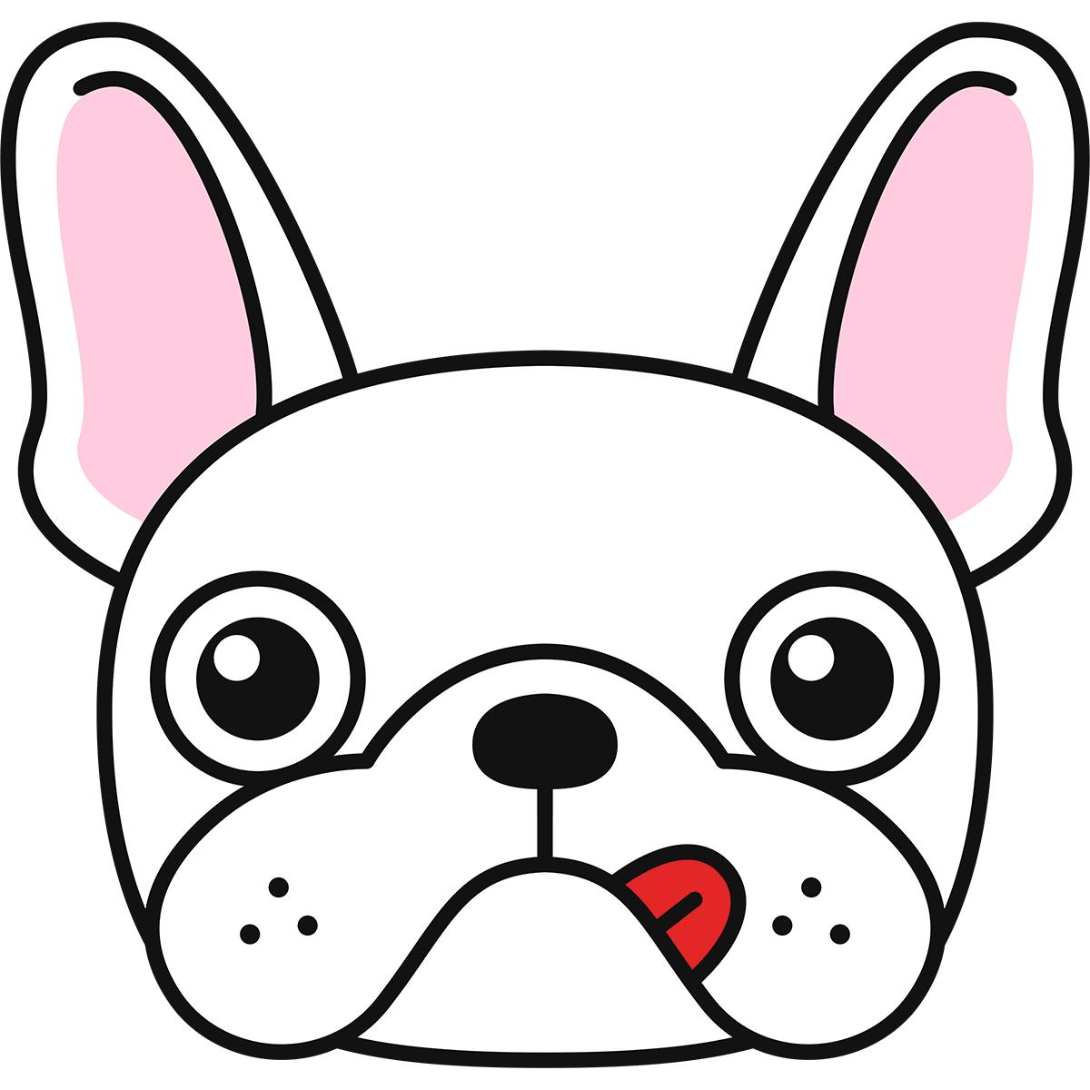 フレンチブルドッグの顔(白)の無料イラスト