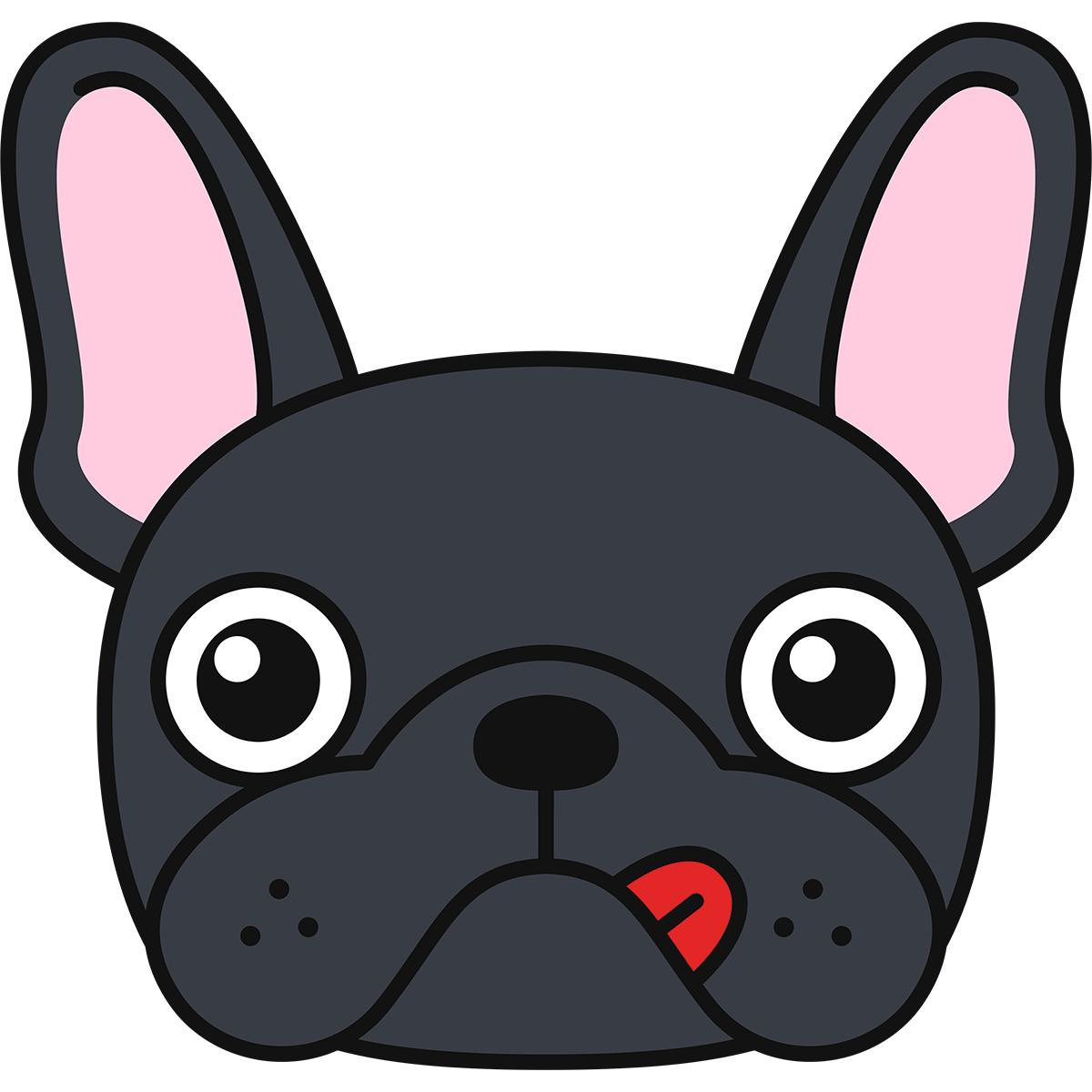 フレンチブルドッグの顔(黒)の無料イラスト