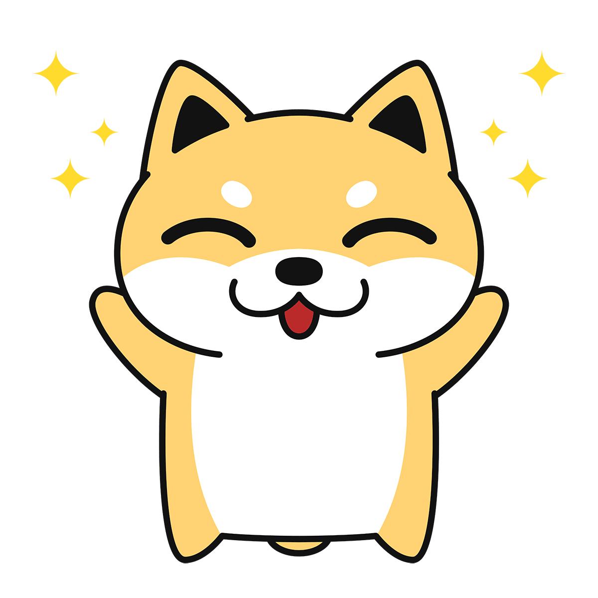 喜ぶ柴犬(コタロー)の無料イラスト