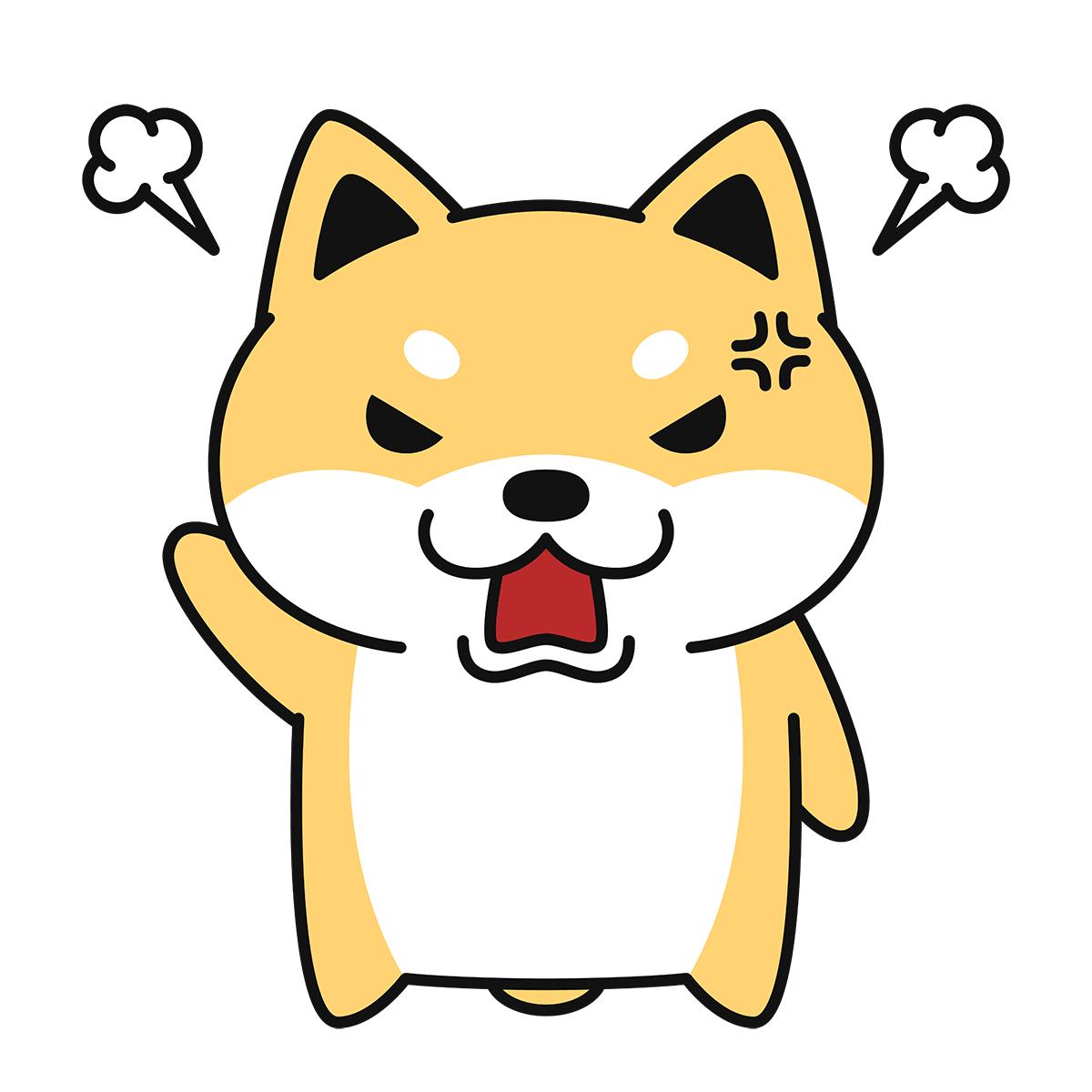 怒る柴犬(コタロー)の無料イラスト