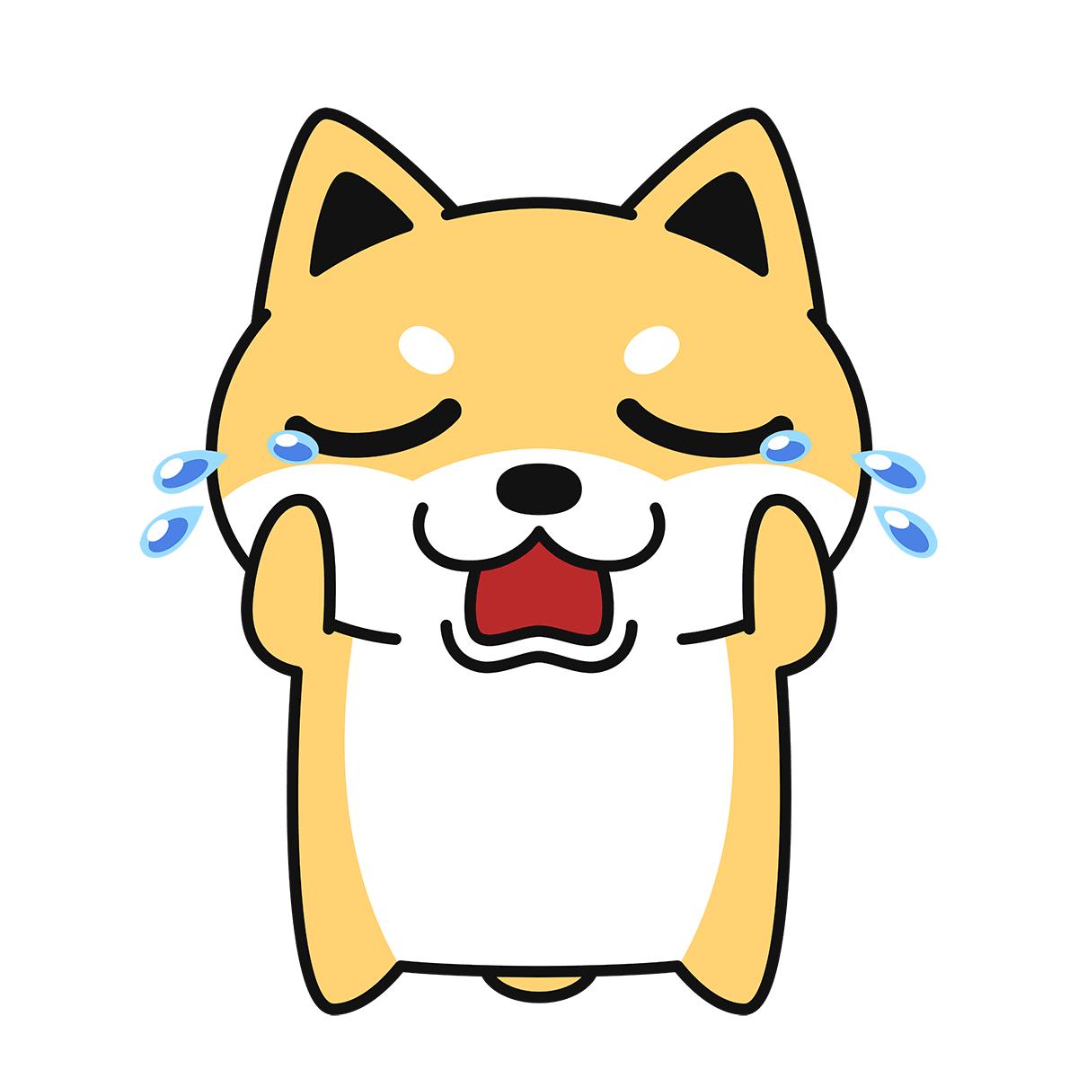 泣く柴犬(コタロー)の無料イラスト
