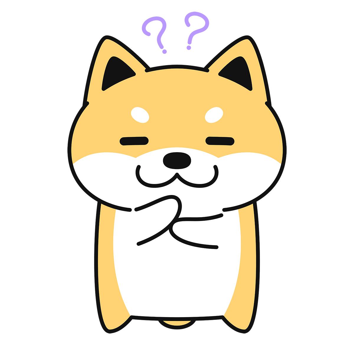 考える柴犬(コタロー)の無料イラスト