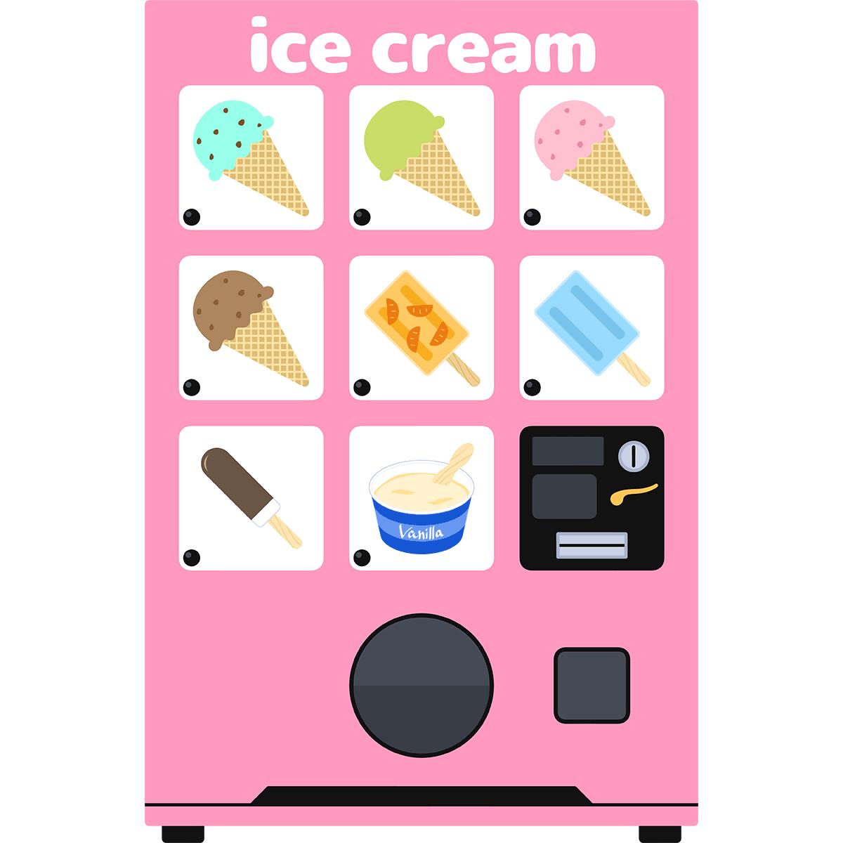 アイスの自動販売機の無料イラスト