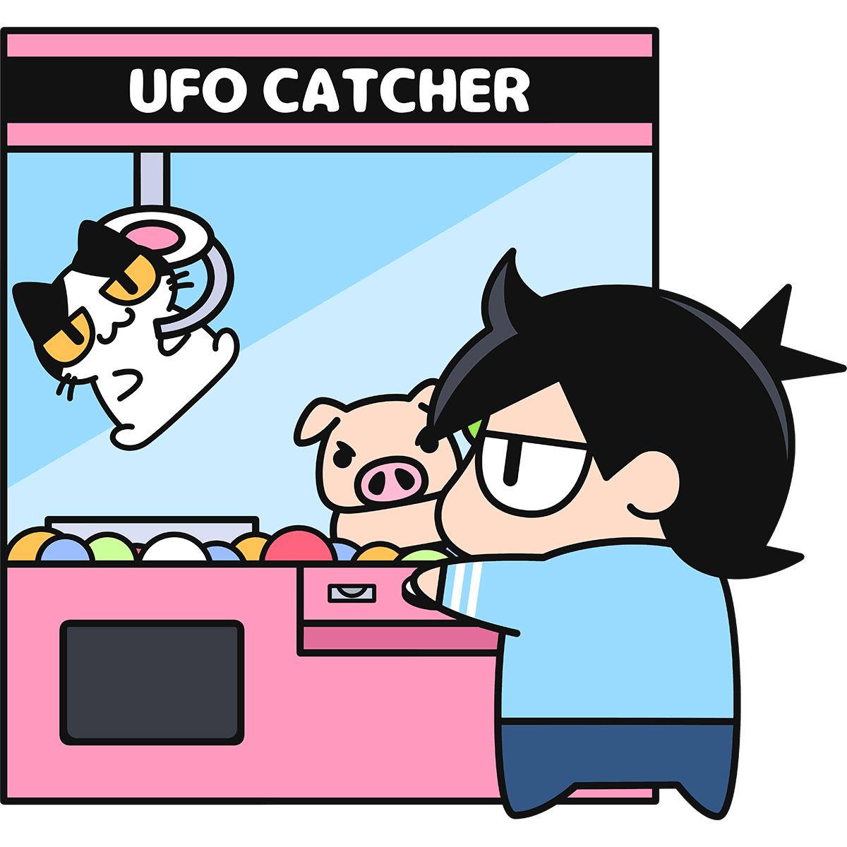 UFOキャッチャーをする男性の無料イラスト