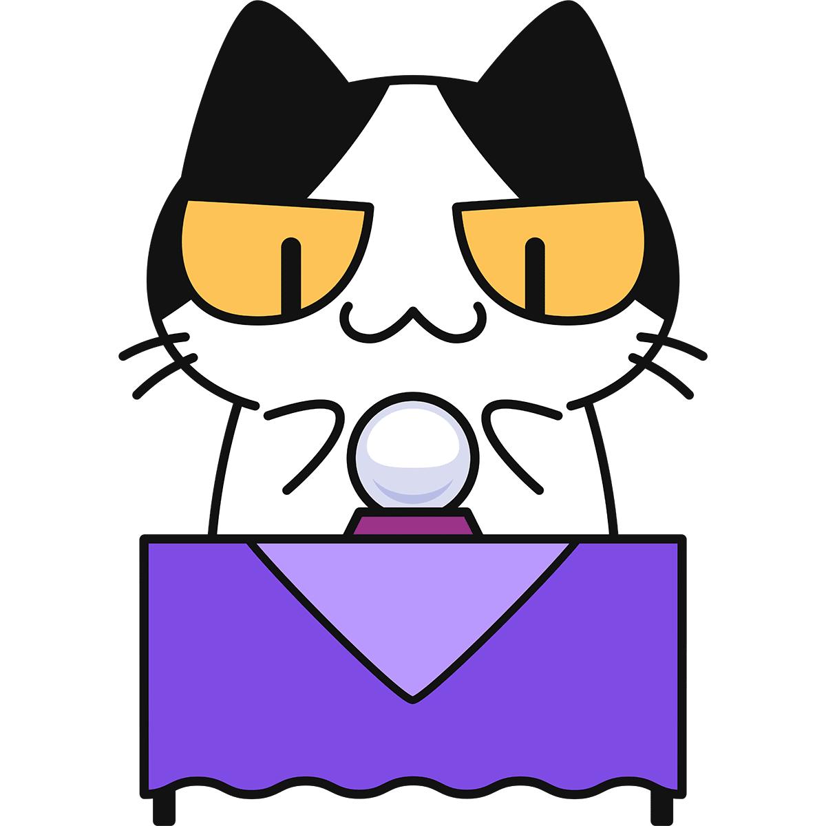 水晶占いをする猫の無料イラスト