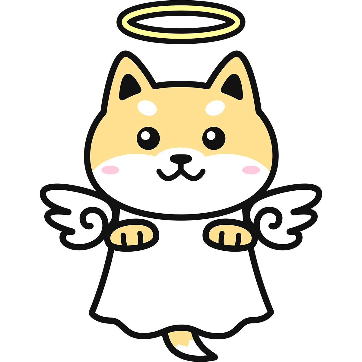 天使になった犬の無料イラスト