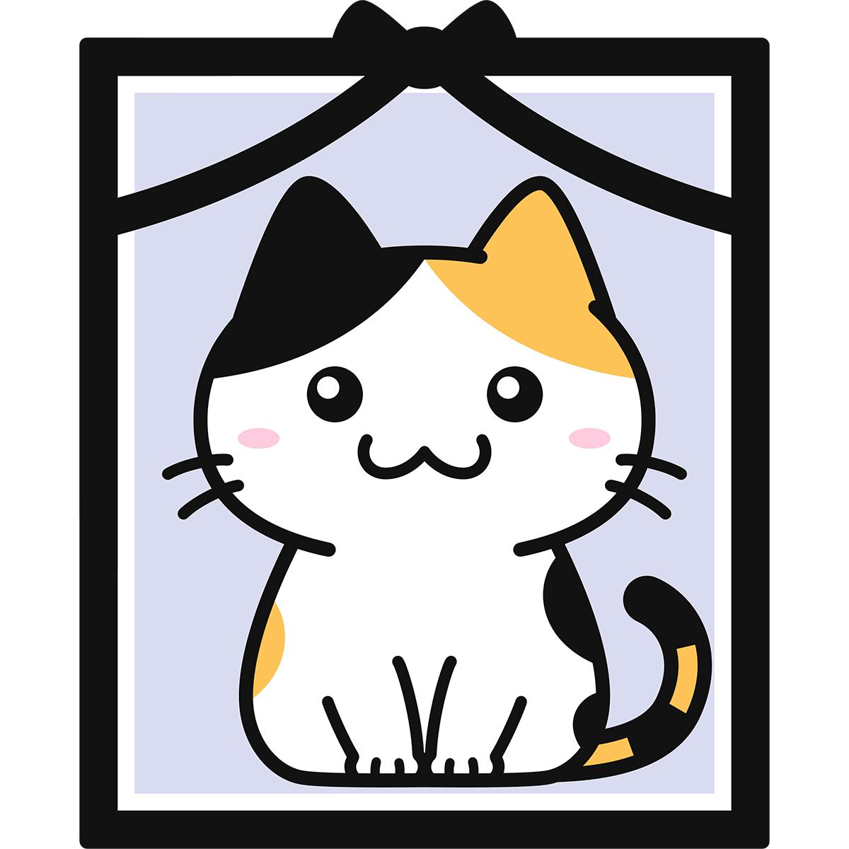 猫の遺影の無料イラスト