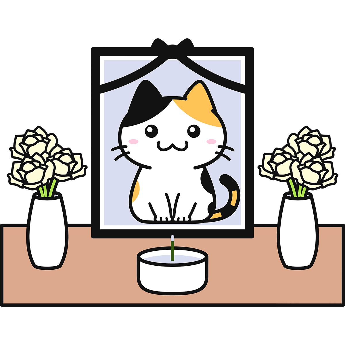 猫の葬儀の無料イラスト