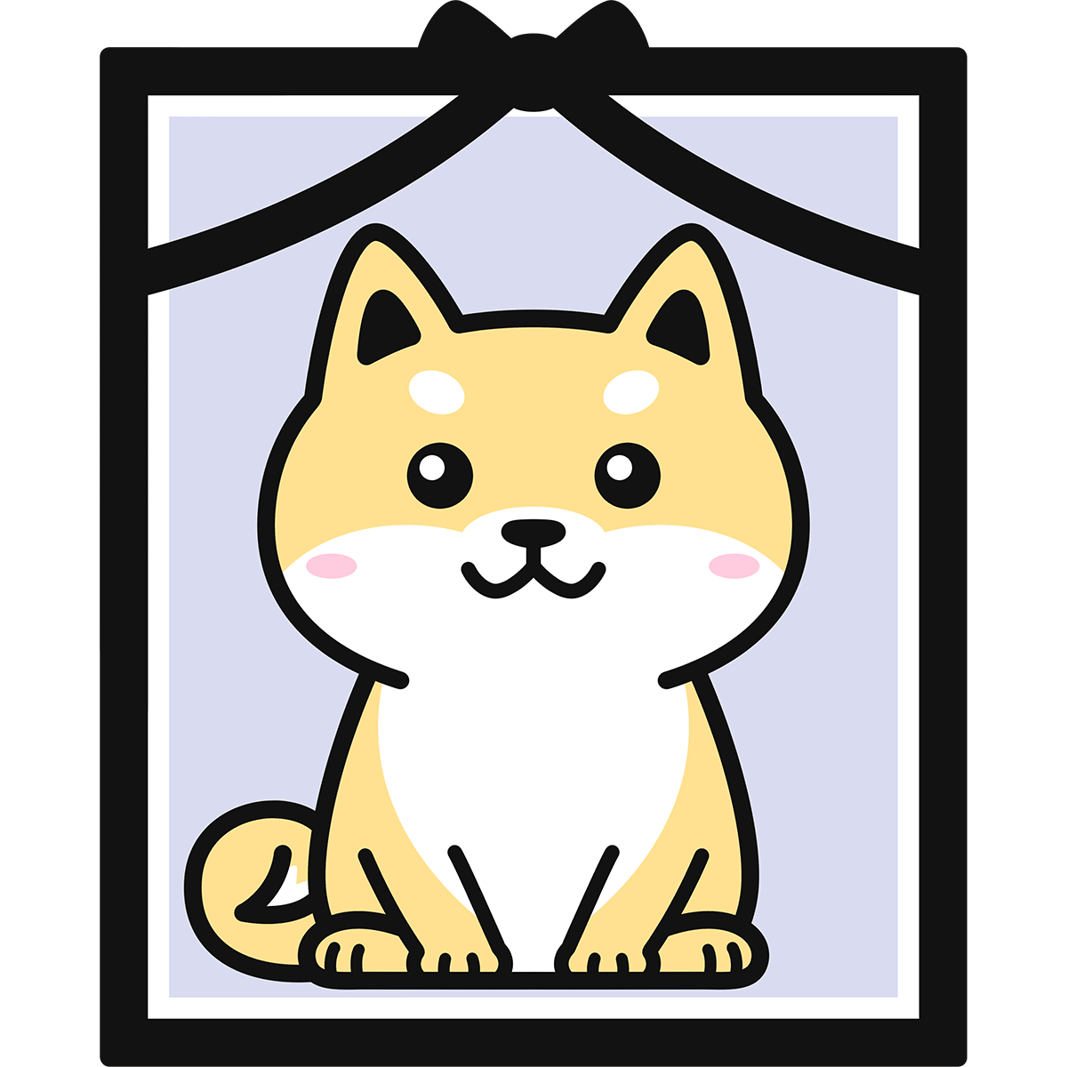 犬の遺影の無料イラスト