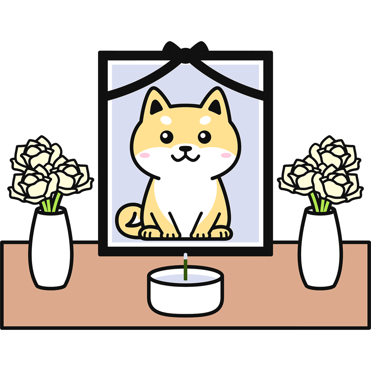 犬の葬儀の無料イラスト