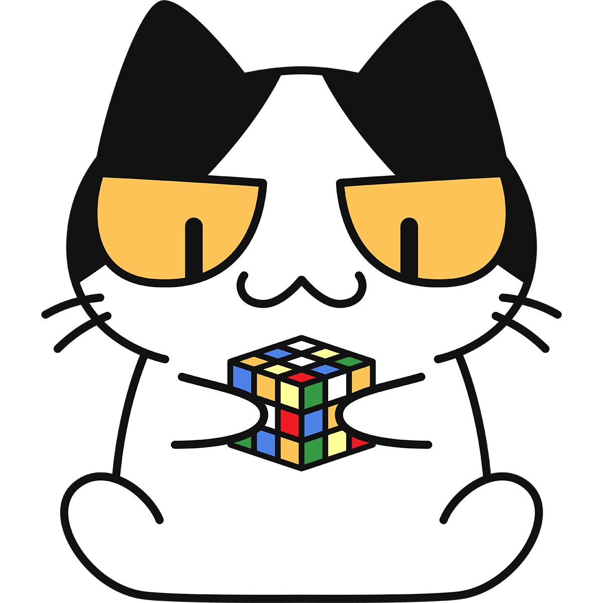 ルービックキューブをする猫の無料イラスト
