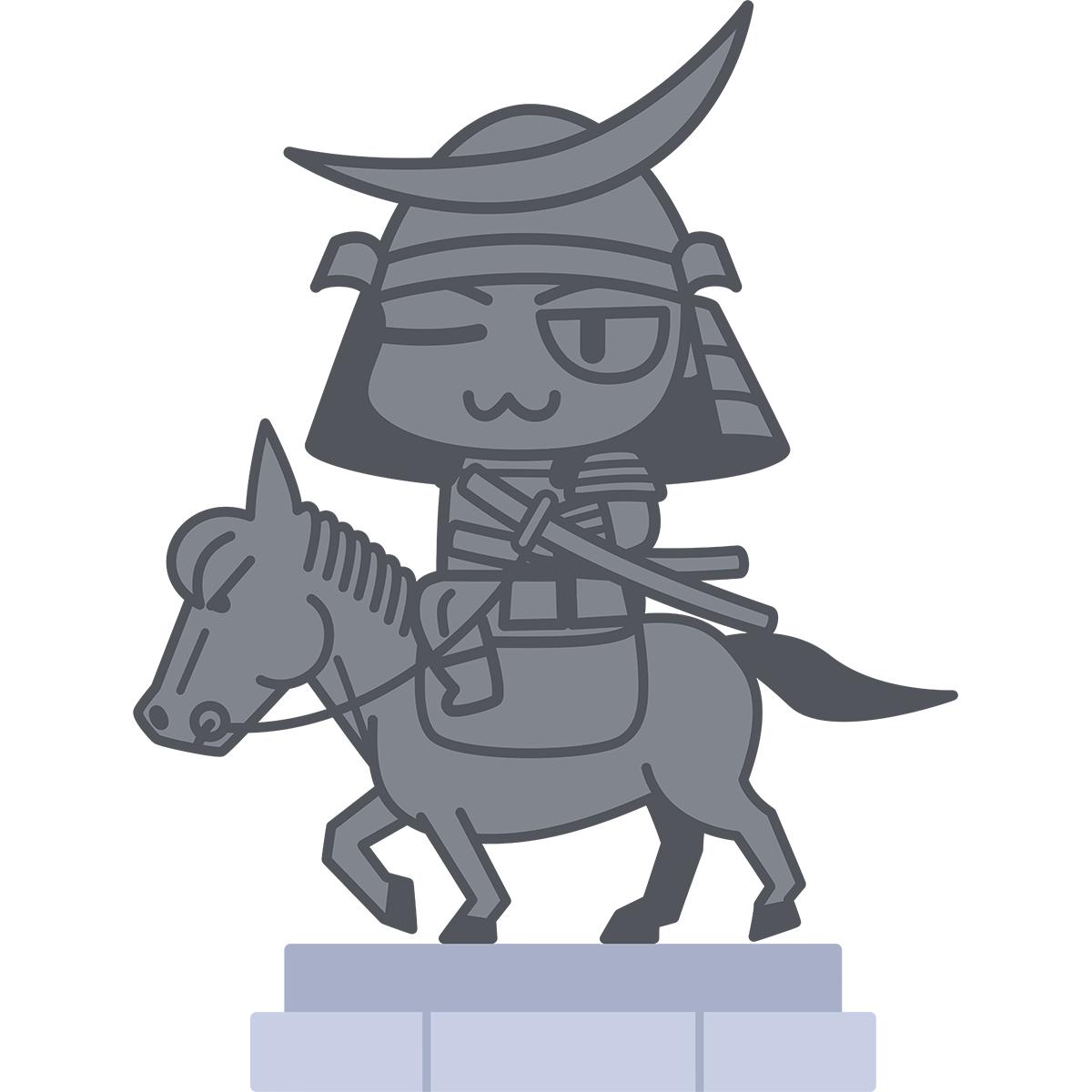 伊達政宗騎馬像の無料イラスト