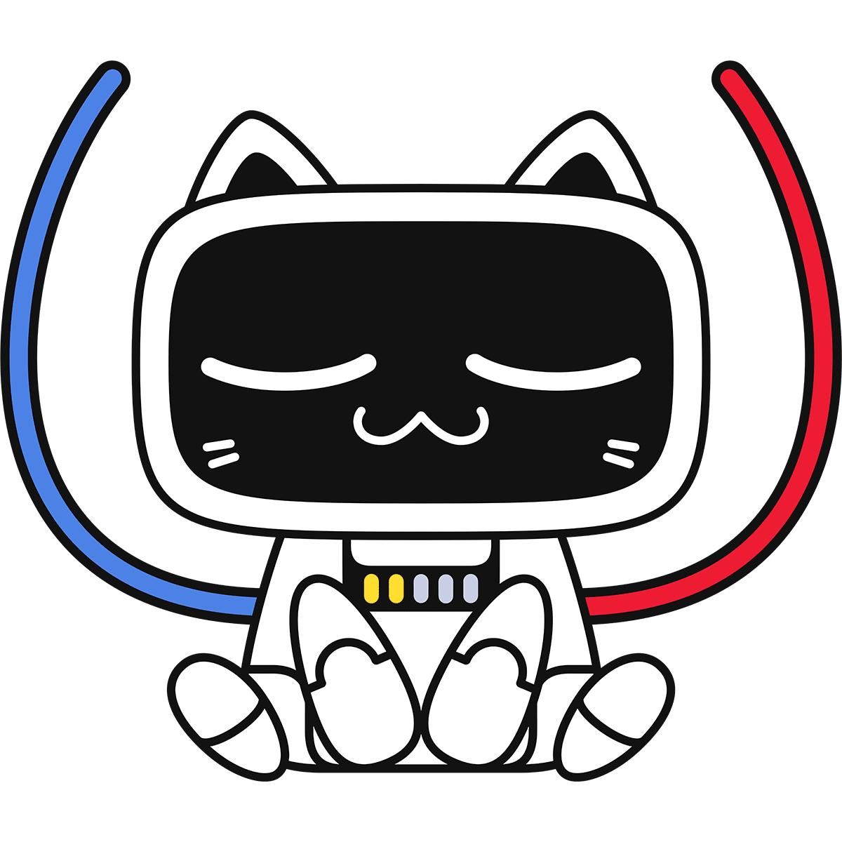 充電中の猫型ロボットの無料イラスト