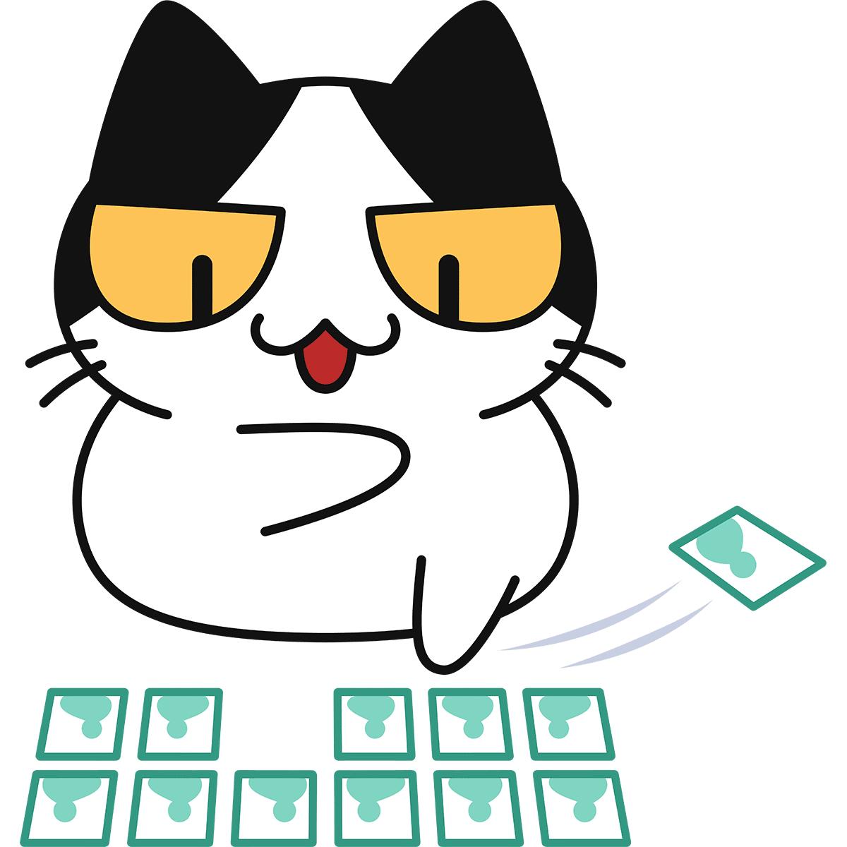百人一首をする猫の無料イラスト
