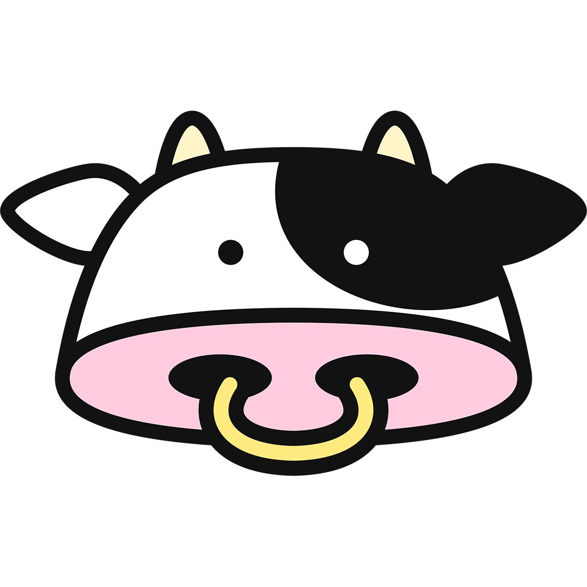 牛の顔の無料イラスト