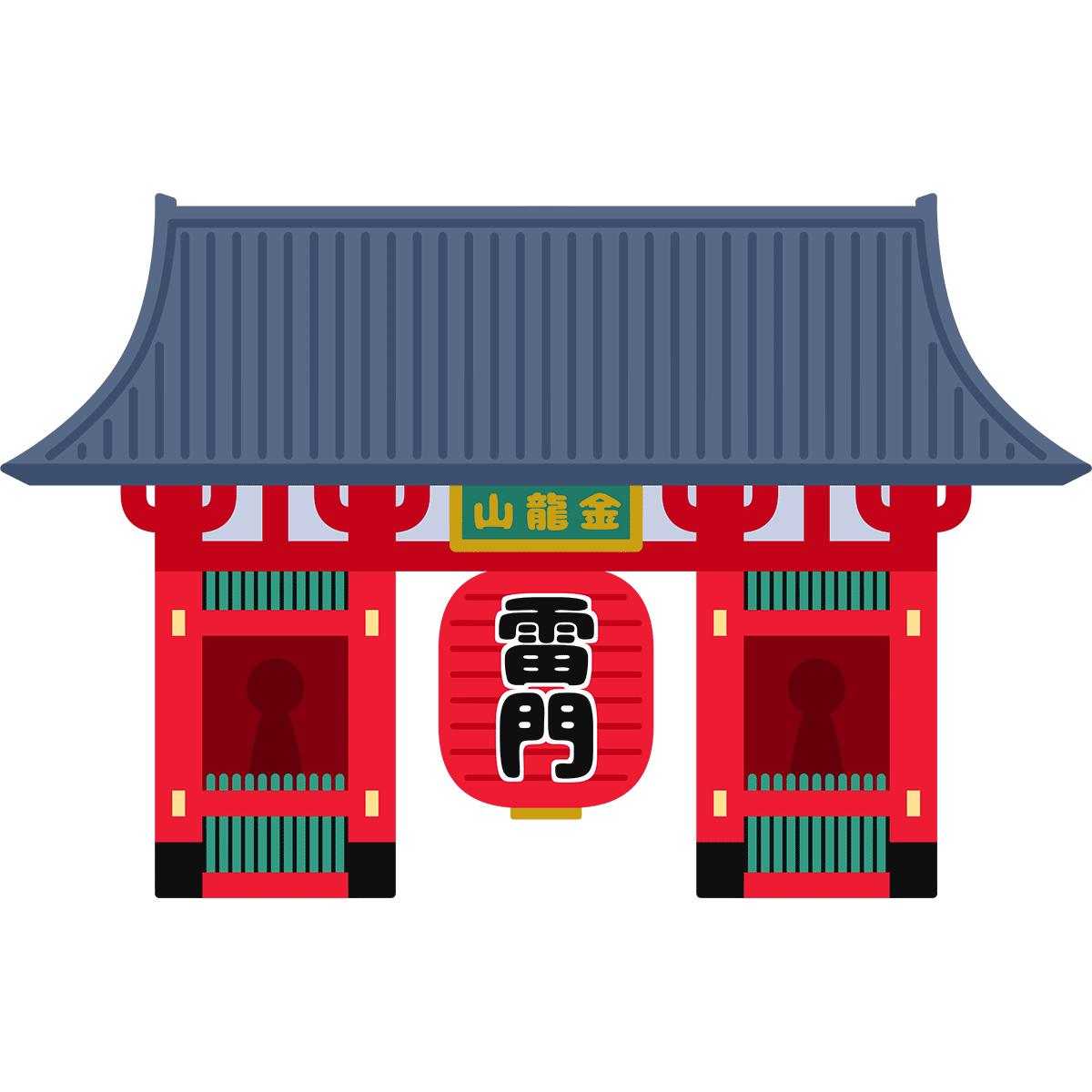 浅草寺・雷門の無料イラスト