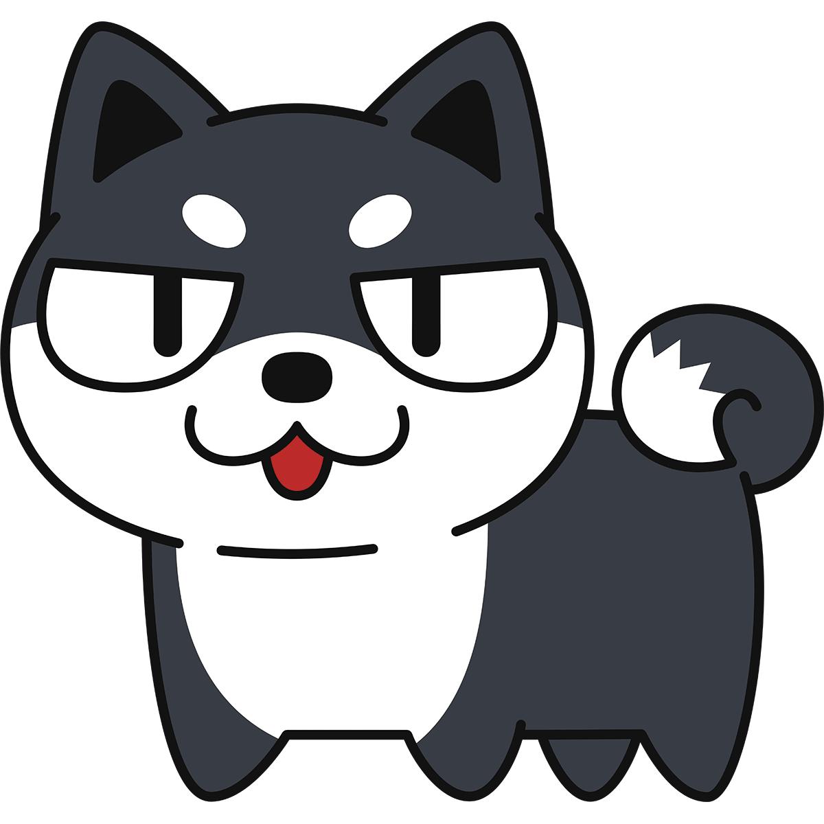目つきの悪い黒柴(柴犬)の無料イラスト