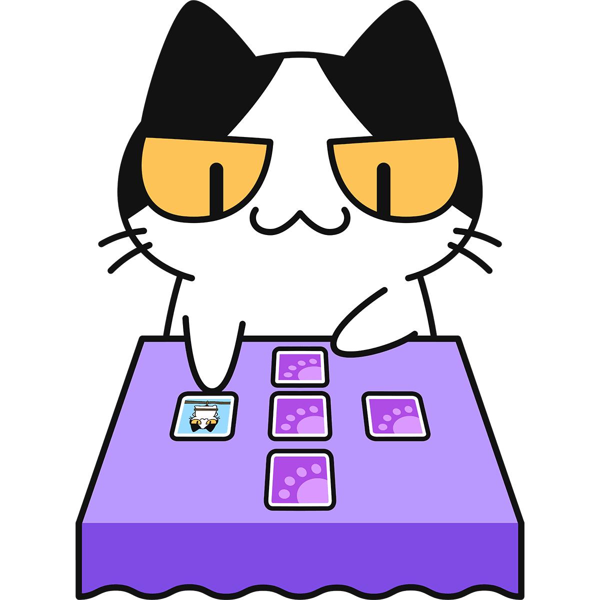タロット占いをする猫の無料イラスト