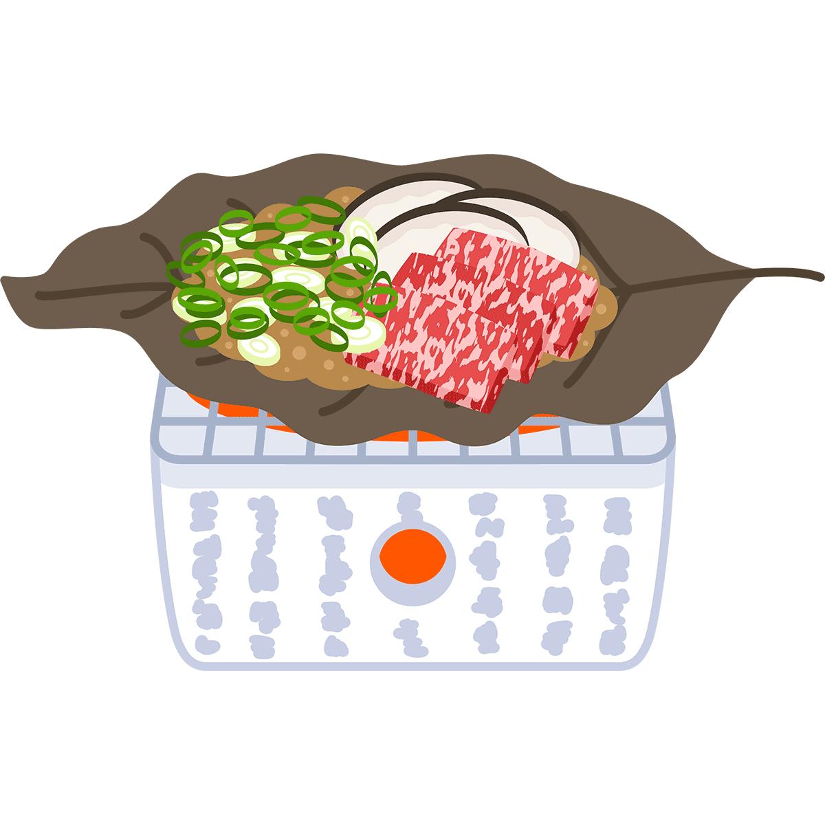 朴葉味噌の無料イラスト