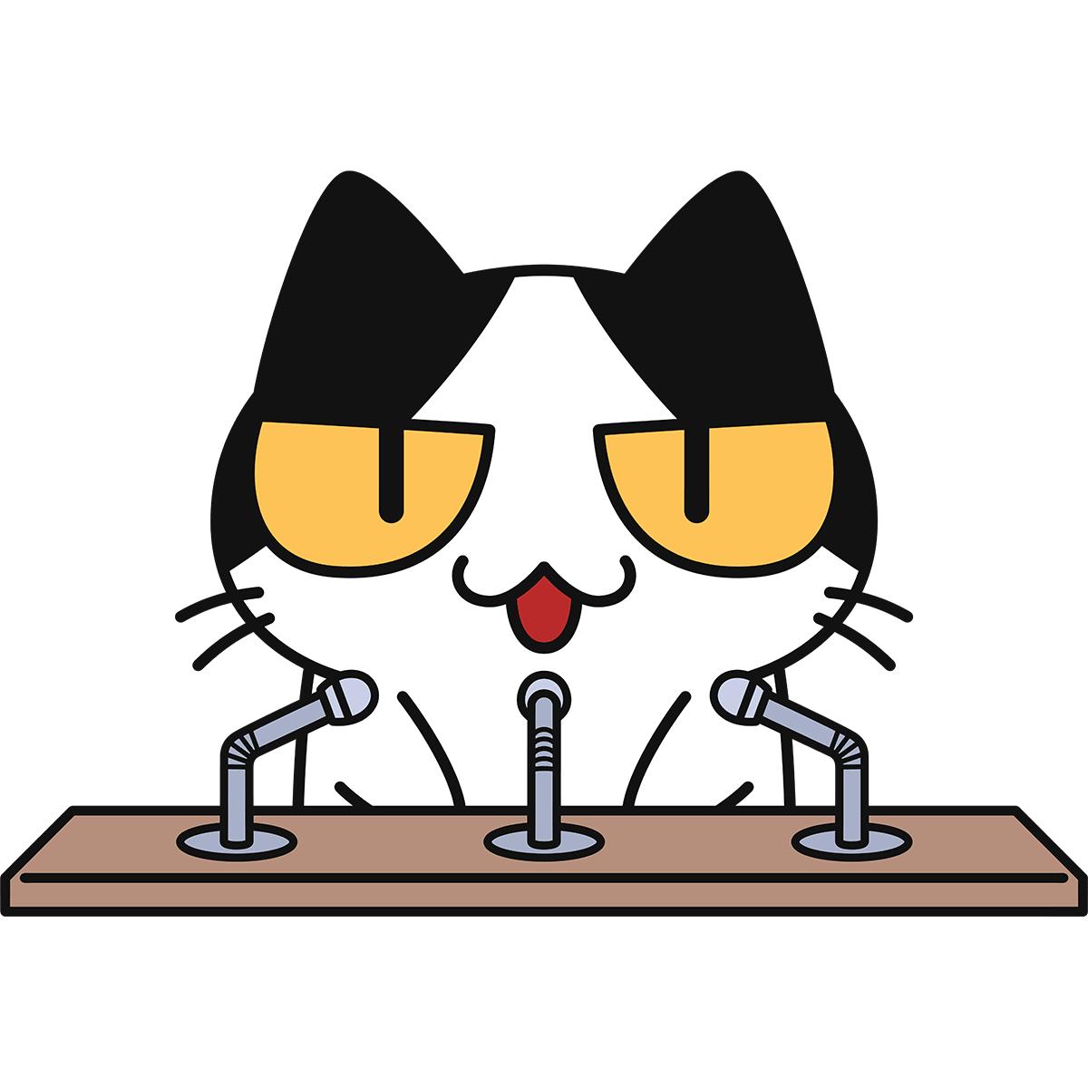 記者会見をする猫の無料イラスト