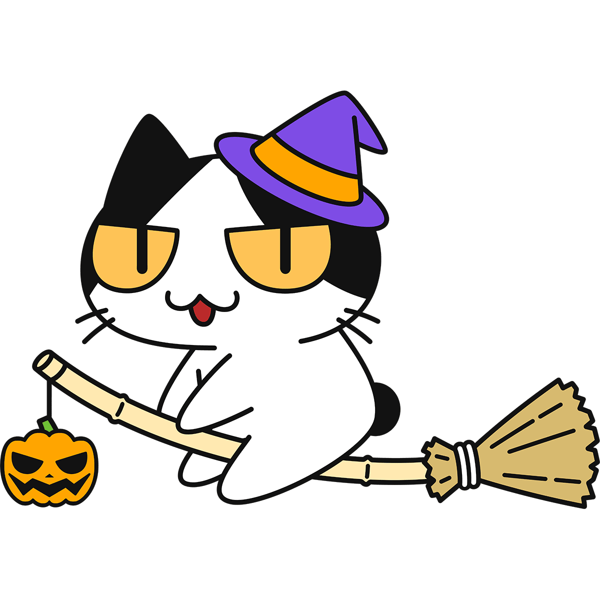 魔女になった猫の無料イラスト