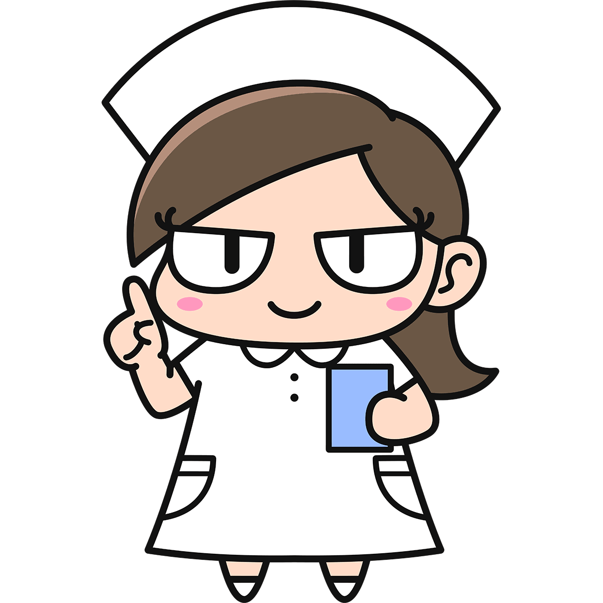 女性看護師ダメコ(説明)の無料イラスト