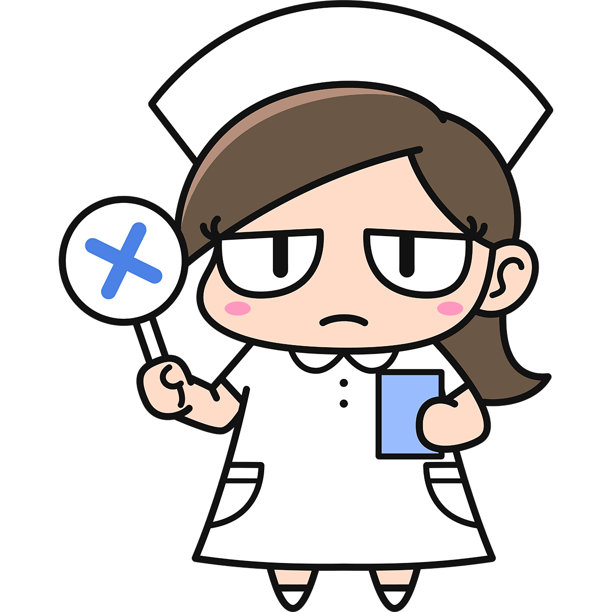 女性看護師ダメコ(不正解)の無料イラスト