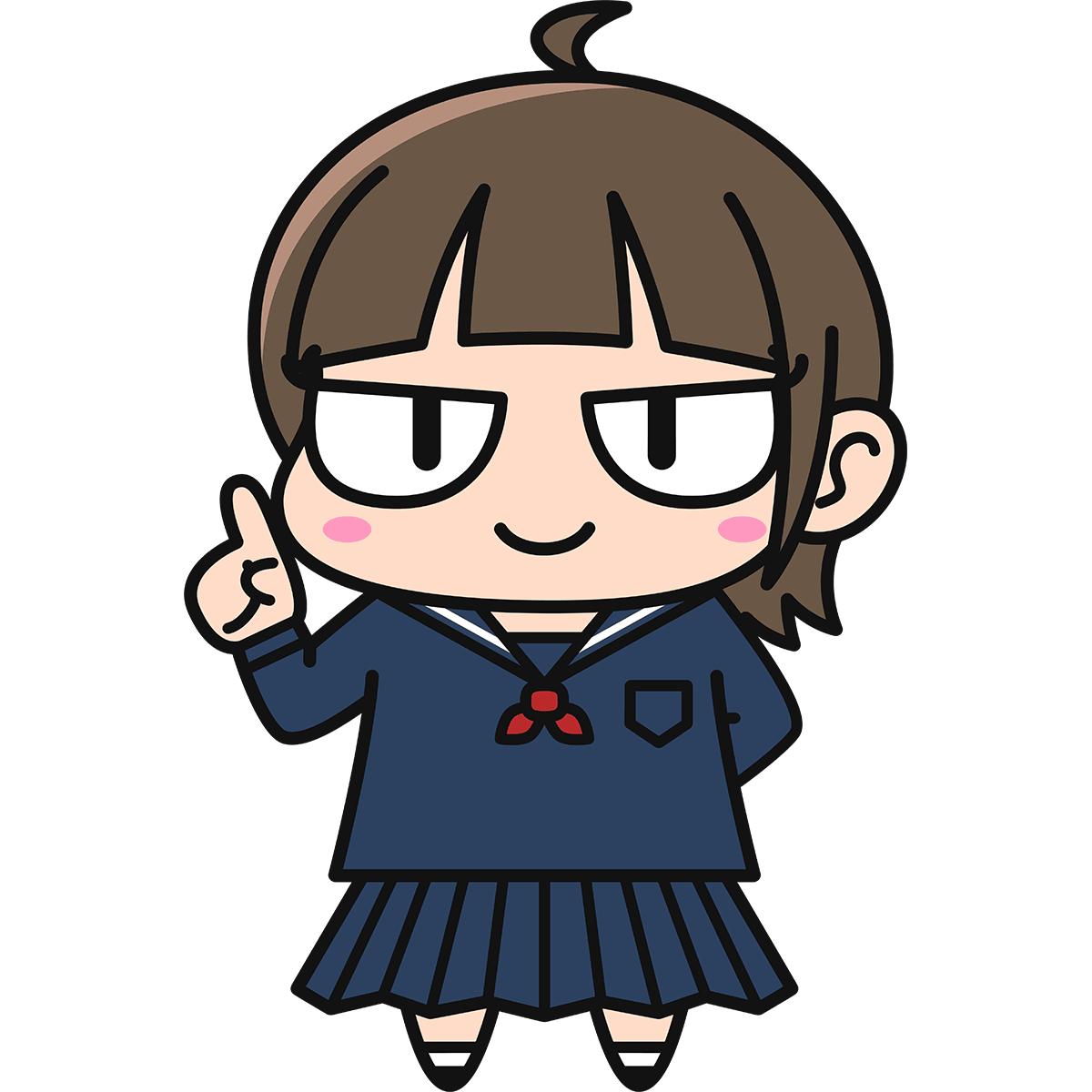 女子高生ダメコ(説明/冬服)の無料イラスト