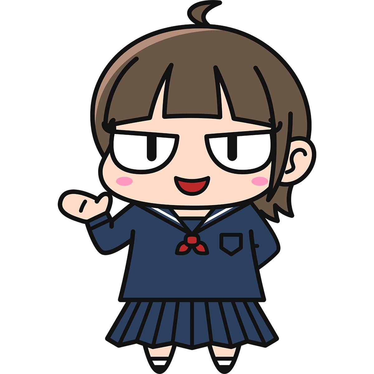 女子高生ダメコ(案内/冬服)の無料イラスト