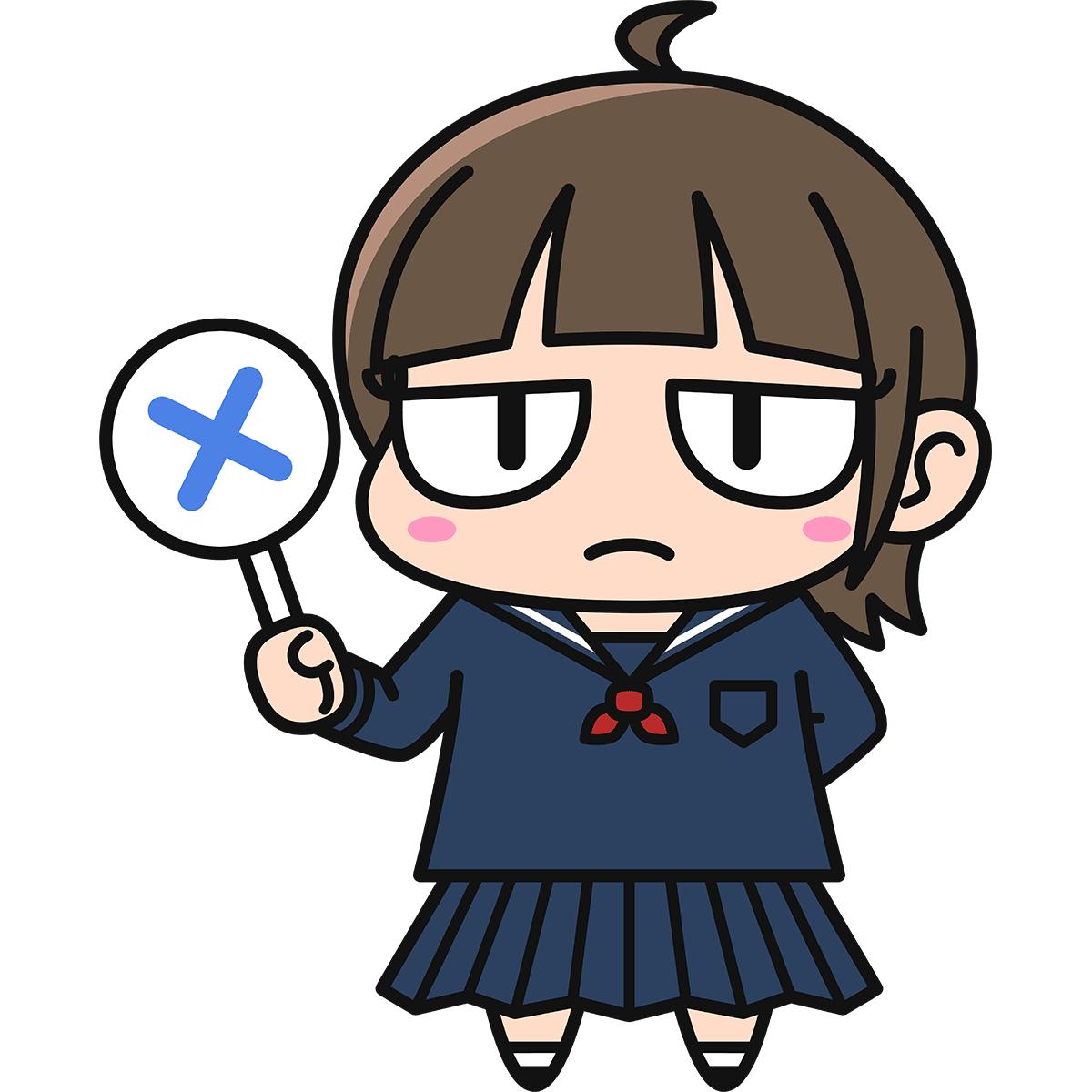 女子高生ダメコ(不正解/冬服)の無料イラスト