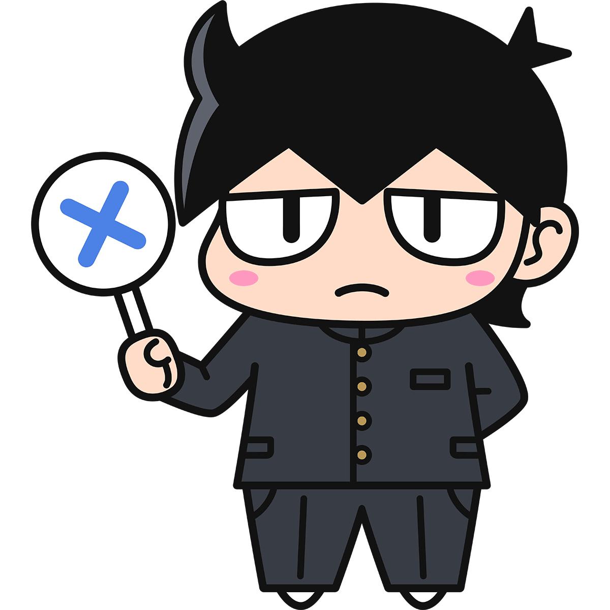 男子学生ダメオ(不正解/冬服)の無料イラスト
