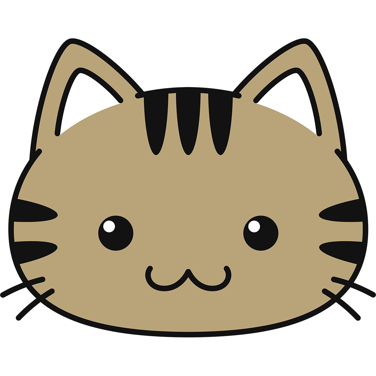 キジトラ猫の顔(丸目)の無料イラスト