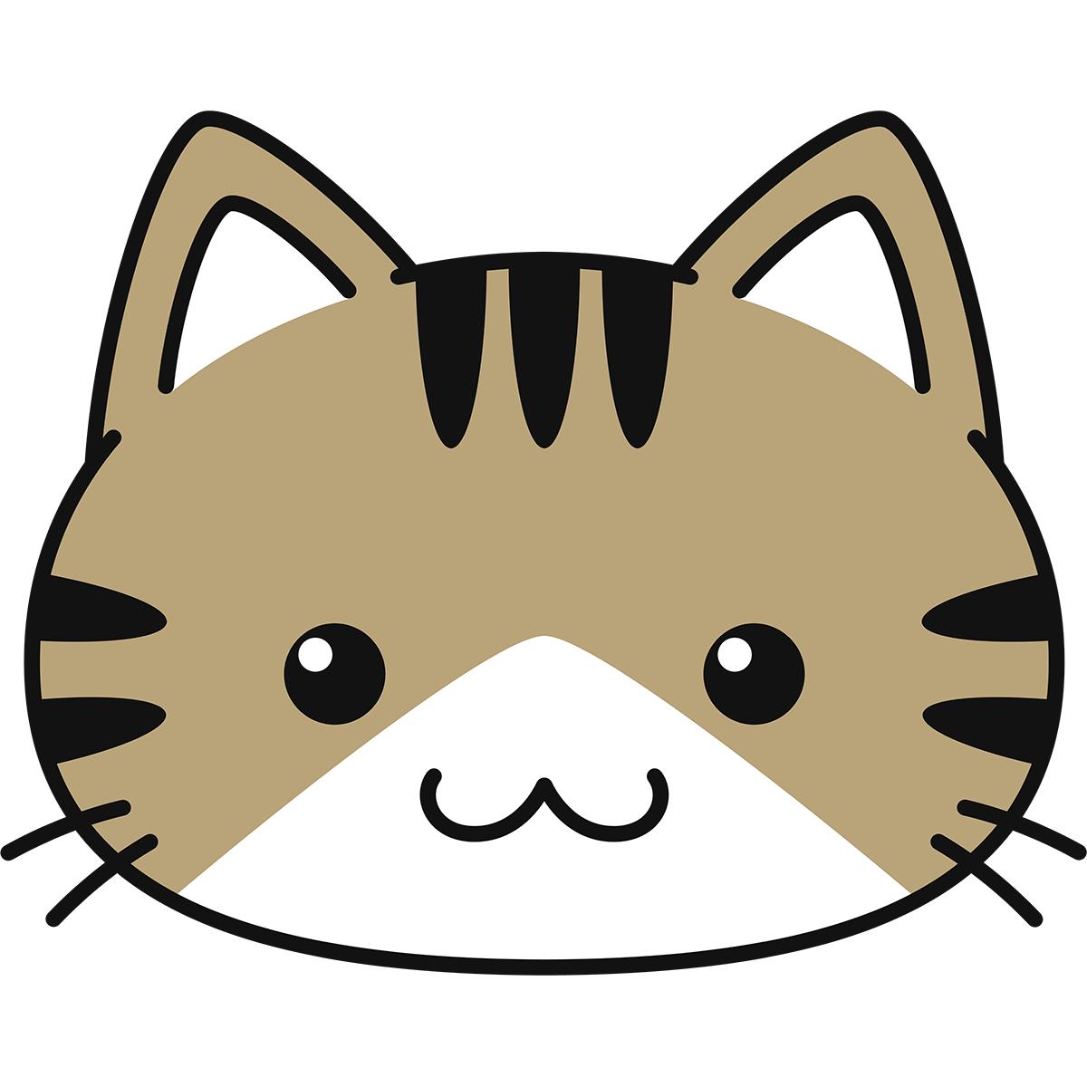 キジ白猫の顔(丸目)の無料イラスト