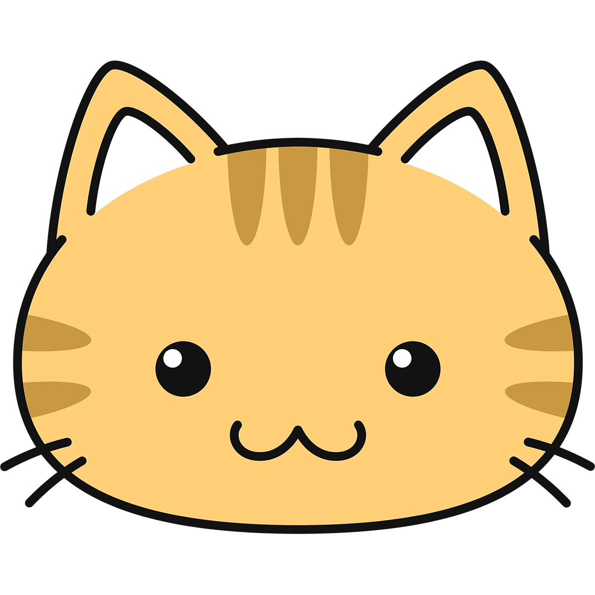 茶トラ猫の顔(丸目)の無料イラスト