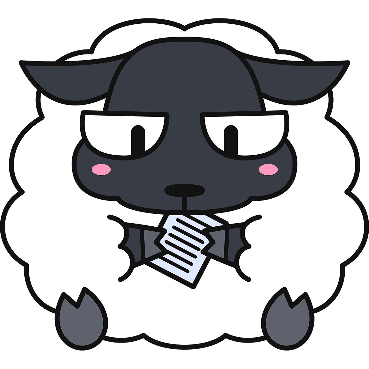 紙を食べる羊(サフォーク/猫目)の無料イラスト
