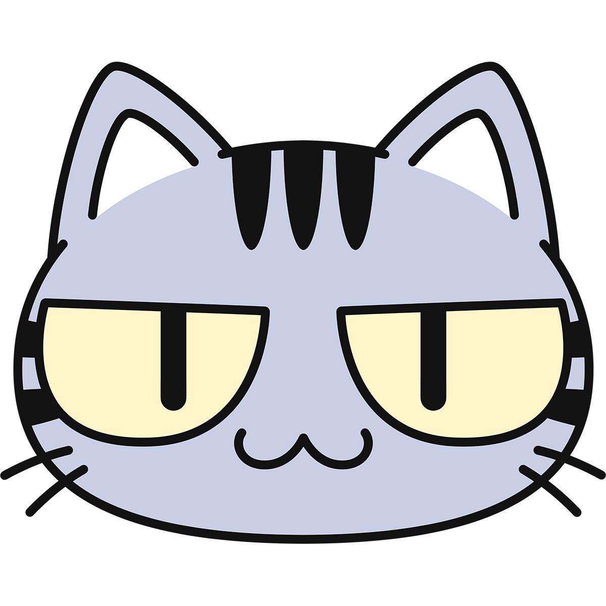 サバトラ猫の顔(猫目)の無料イラスト