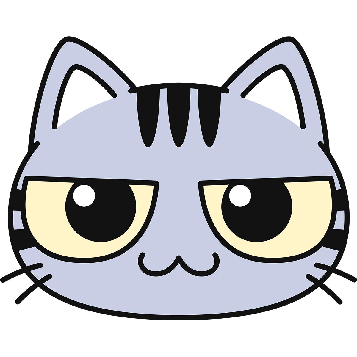 サバトラ猫の顔の無料イラスト
