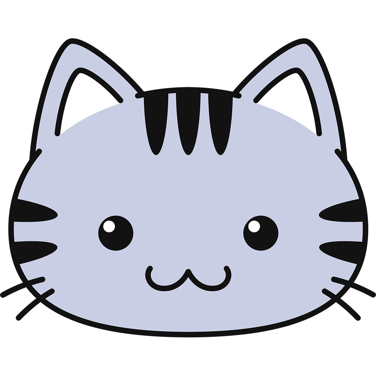 サバトラ猫の顔(丸目)の無料イラスト