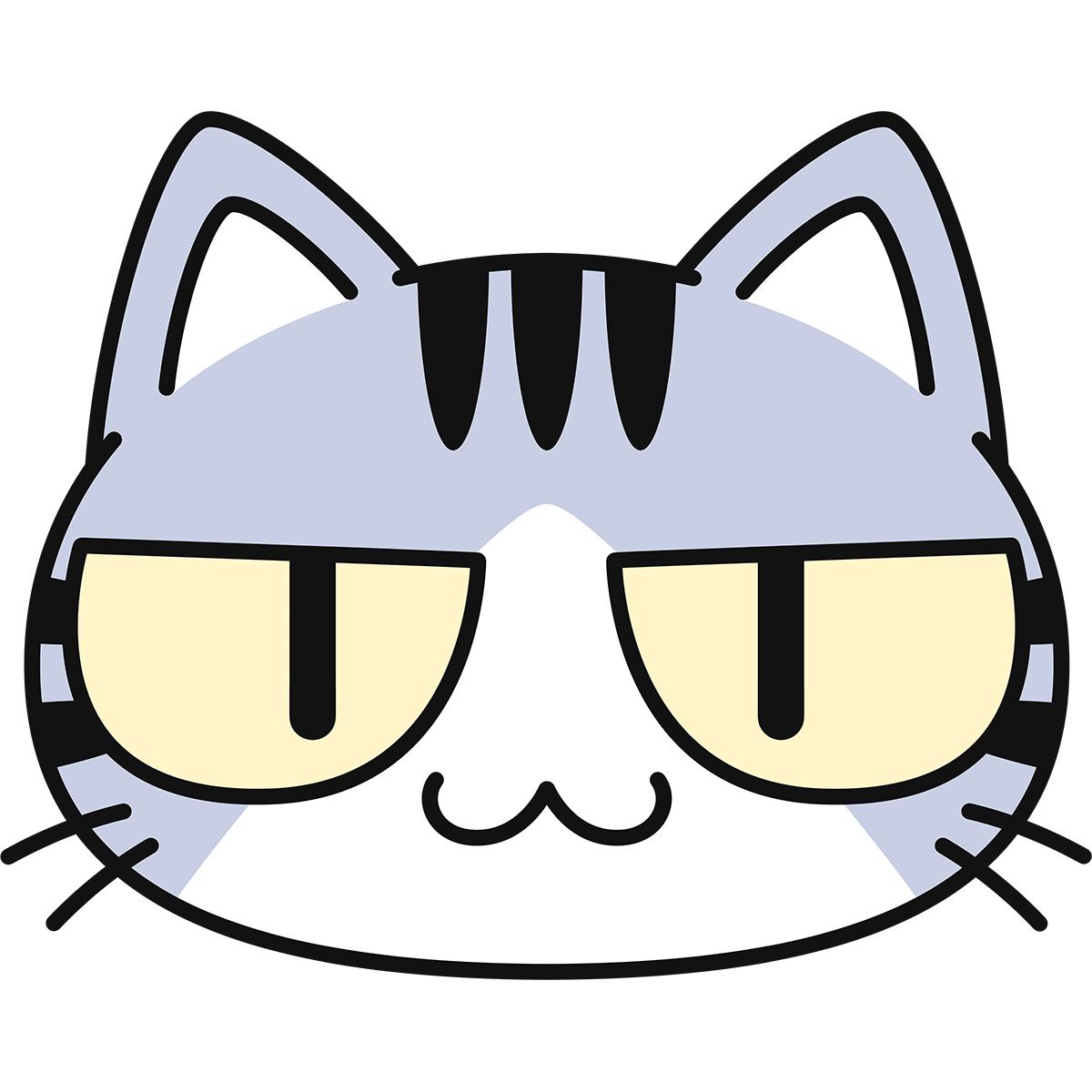 サバ白猫の顔(猫目)の無料イラスト