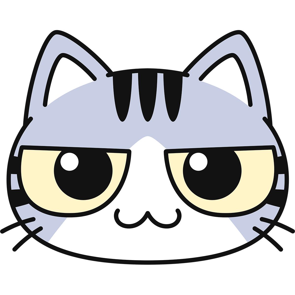 サバ白猫の顔の無料イラスト