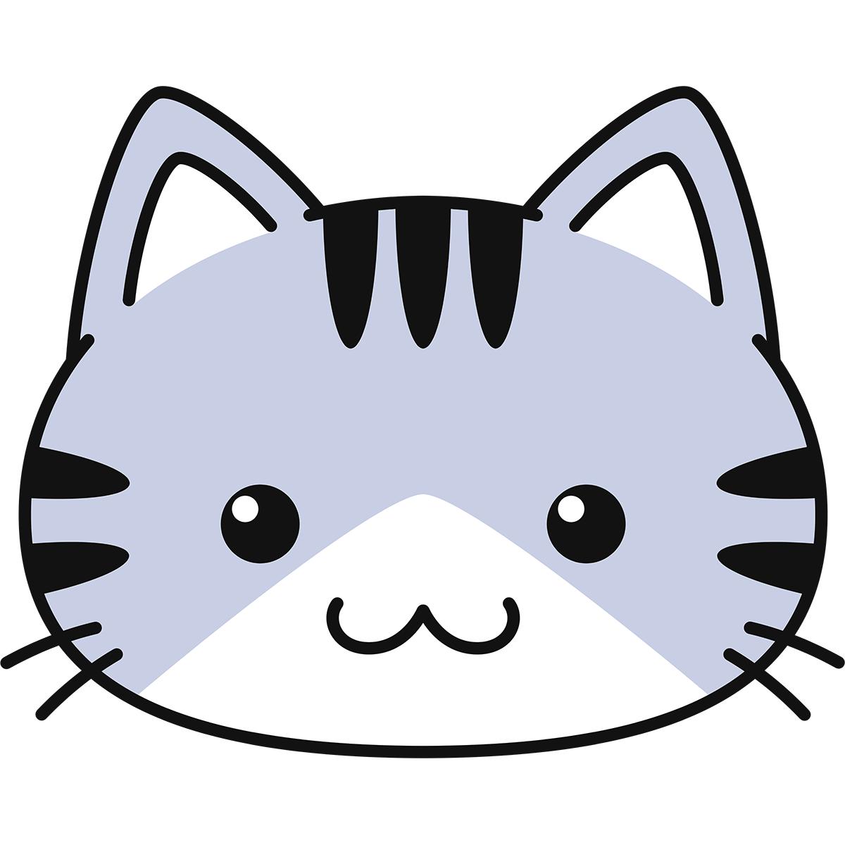 サバ白猫の顔(丸目)の無料イラスト