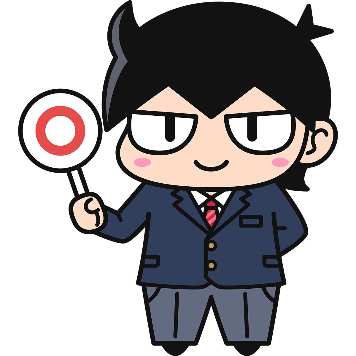 男子学生ダメオ(正解/ブレザー)の無料イラスト