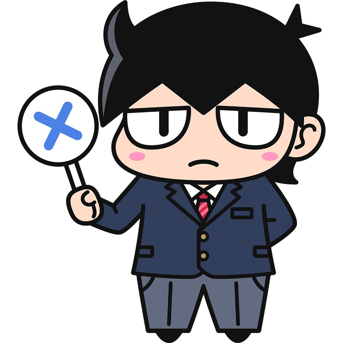 男子学生ダメオ(不正解/ブレザー)の無料イラスト