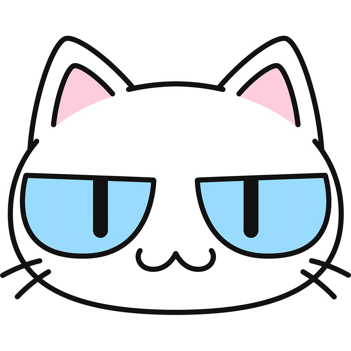 白猫の顔(猫目)の無料イラスト