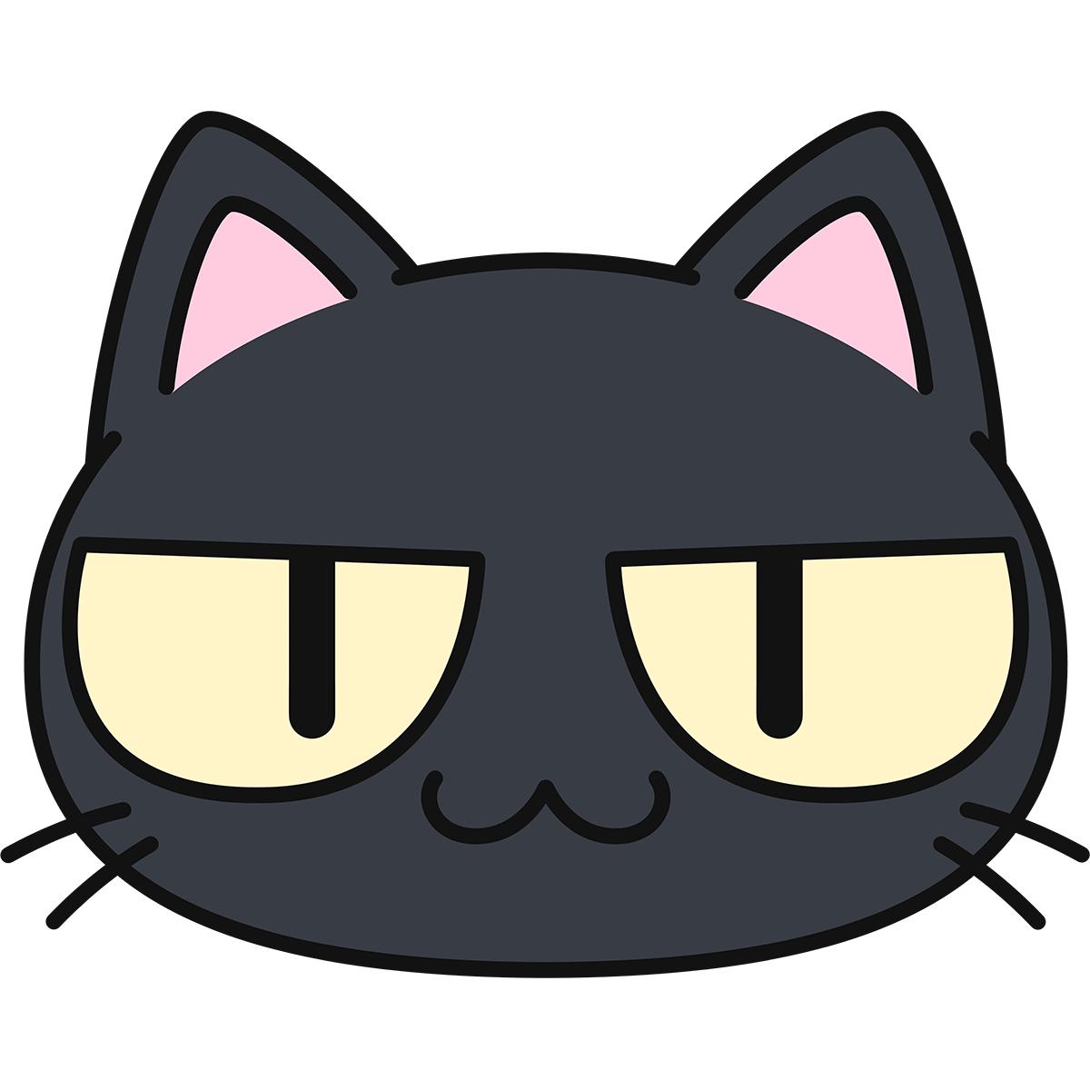 黒猫の顔(猫目)の無料イラスト