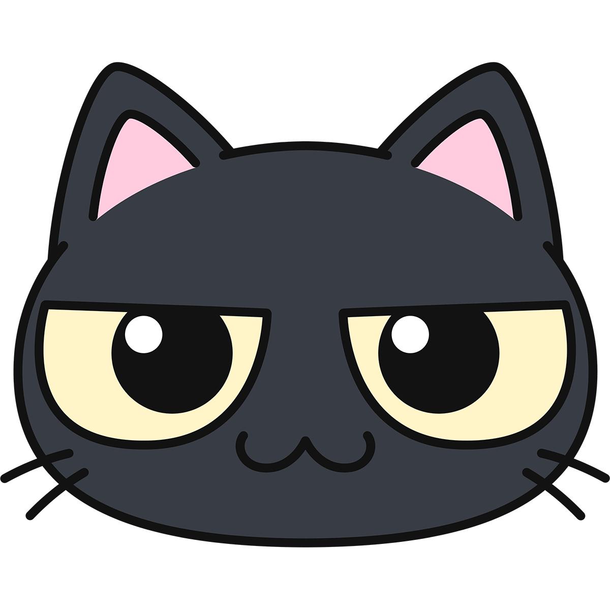 黒猫の顔の無料イラスト