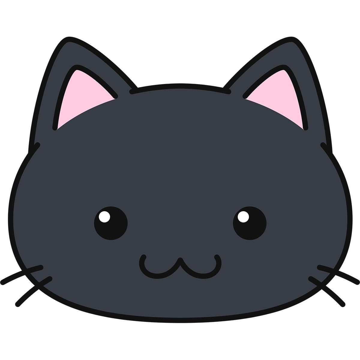 黒猫の顔(丸目)の無料イラスト