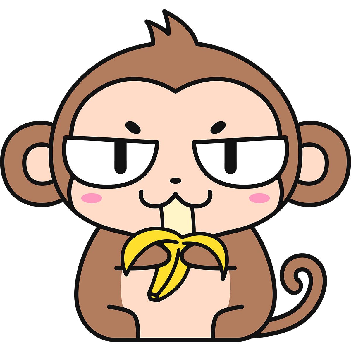バナナを食べる猿(猫目)の無料イラスト