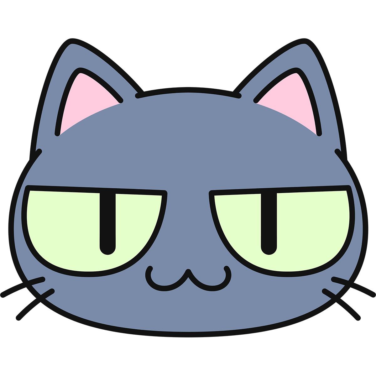 グレー猫の顔(猫目)の無料イラスト