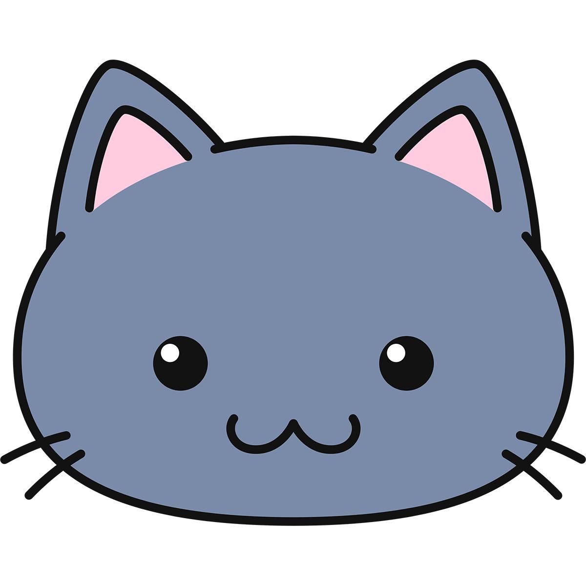 グレー猫の顔(丸目)の無料イラスト